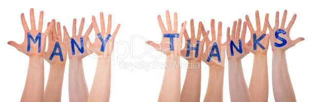Many Hands Building Word Many Thanks, Isolated