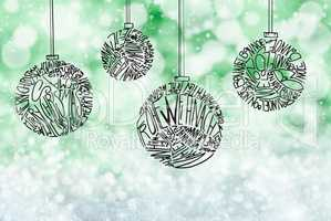 Christmas Tree Ball Ornament, Green Sparkling Background