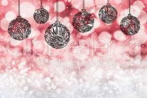 Christmas Tree Ball Ornament, Copy Space, Dark Red Background
