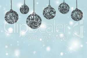 Christmas Tree Ball Ornament, Copy Space, Light Blue Background