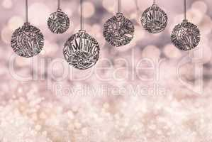 Christmas Tree Ball Ornament, Copy Space, Light Purple Background, Snow