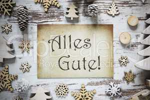 Rustic Christmas Decoration, Paper, Alles Gute Means Best Wishes