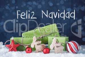 Green Christmas Gifts, Snow, Feliz Navidad Means Merry Christmas