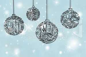 Christmas Tree Ball Ornament, Light Blue Background
