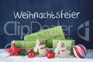 Green Christmas Gifts, Snow, Weihnachtsfeier Means Christmas Party