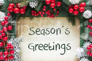 Christmas Decoration Like Fir Tree Branch, Text Seasons Greetings