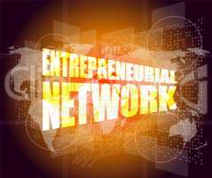 Management concept: entrepreneurial network words on digital screen