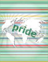 The word pride on business digital screen. concept of citation, info, testimonials, notice, textbox