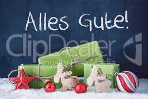 Green Christmas Gifts, Snow, Alles Gute Means Best Wishes