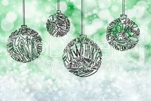Christmas Tree Ball Ornament, Green Glittering Background