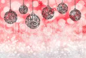 Christmas Tree Ball Ornament, Red Background, Copy Space