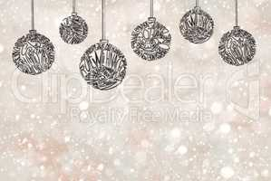Christmas Tree Ball Ornament, Light Gray Background, Copy Space