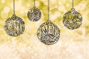 Christmas Tree Ball Ornament, Yellow Sparkling Background