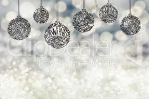 Christmas Tree Ball Ornament, Copy Space, Gray Background, Snow
