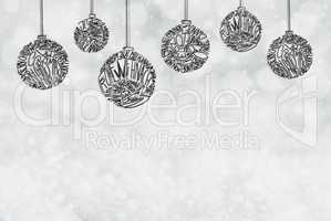 Christmas Tree Ball Ornament, Copy Space, Ligh Grey Background