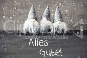 Gnomes, Cement, Snowflakes, Alles Gute Means Best Wishes