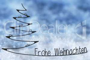 Line Sketch Of Tree, Frohe Weihnachten Means Merry Christmas