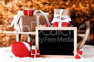 Sled With Gifts, Copy Space For Advertisement, Snow, Bokeh