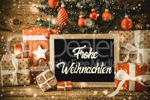 Tree, Gifts, Calligraphy Frohe Weihnachten Means Merry Christmas