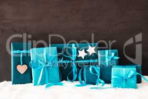 Turquoise Gifts, Copy Space For Advertisement, Snow