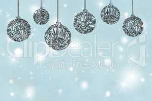 Christmas Tree Ball Ornament, Light Blue Background, Copy Space