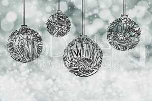 Christmas Tree Ball Ornament, Gray Sparkling Background