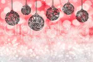 Christmas Tree Ball Ornament, Copy Space, Red Background