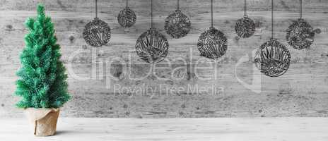 Tree, Ball, Copy Space, Gray Wooden Background