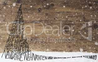 Sketch Of Christmas Tree, Calligraphy Merry Christmas, Snowflakes, Wood