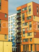 Modern residential complex with colorful design of building facades and developed infrastructure. Moscow, Russia