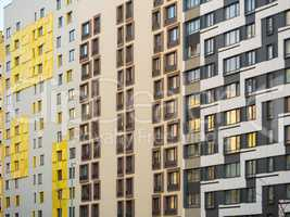 the facade of a modern residential complex. Moscow, Russia