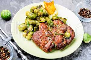 Meat steak with vegetables