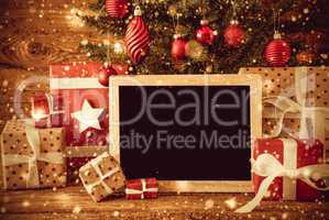 Tree, Gifts, Copy Space For Advertisement, Retro Look