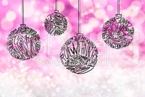 Christmas Tree Ball Ornament, Purple Sparkling Background