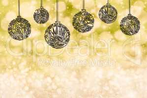 Christmas Tree Ball Ornament, Copy Space, Yellow Background