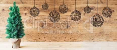 Tree, Ball, Copy Space, Brown Wooden Background