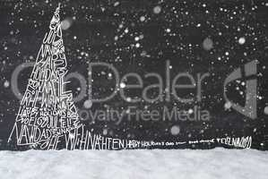 Sketch Of Christmas Tree, Calligraphy Merry Christmas, Snowflakes, Snow