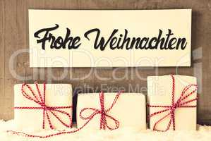 Gifts, Sign, Calligraphy Frohe Weihnachten Means Merry Christmas, Snow