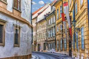 Narrow Prague street near Waldstein Palace, no people