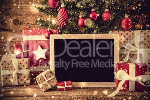 Tree, Gifts, Copy Space For Advertisement, Rustic Background