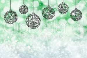Christmas Tree Ball Ornament, Green Background, Copy Space