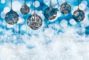 Christmas Tree Ball Ornament, Copy Space, Blue Background
