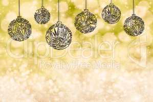 Christmas Tree Ball Ornament, Copy Space, Yellow Background, Snow