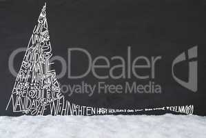 Line Sketch Of Christmas Tree, Calligraphy Merry Christmas, Snow