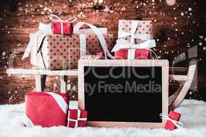 Sled With Gifts, Copy Space For Advertisement, Snowflakes