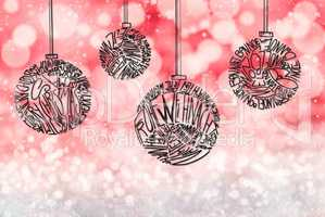 Christmas Tree Ball Ornament, Red Sparkling Background