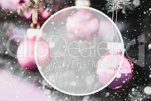 Blurry Purple Balls, Copy Space, Snowflakes, Christmas Tree