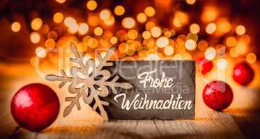 Plate, Calligraphy Frohe Weihnachten Means Merry Christmas, Red Balls