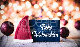 Plate, Calligraphy Frohe Weihnachten Means Merry Christmas, Santa Hat