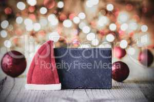 Plate, Copy Space, Santa Hat, Purple Ball, Sparkling Background
